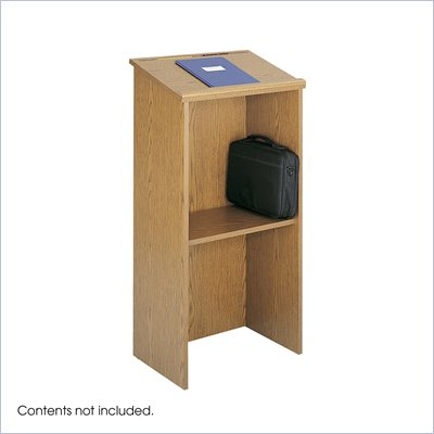 Safco Medium Oak Stand-Up Lectern Podium
