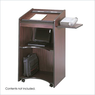 Safco Mahogany Executive Mobile Lectern Podium
