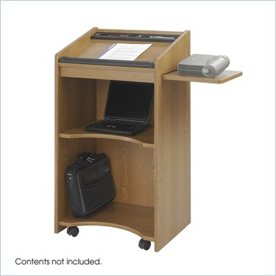 Safco Medium Oak Executive Mobile Lectern Podium