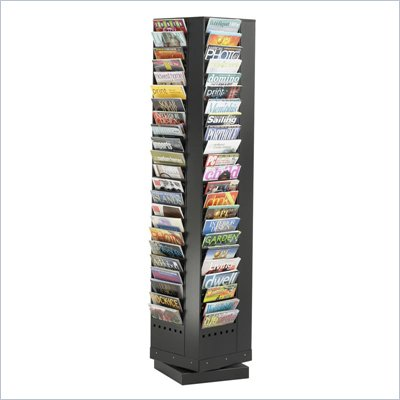 Safco 92-Pocket Steel Rotary Magazine Rack in Black