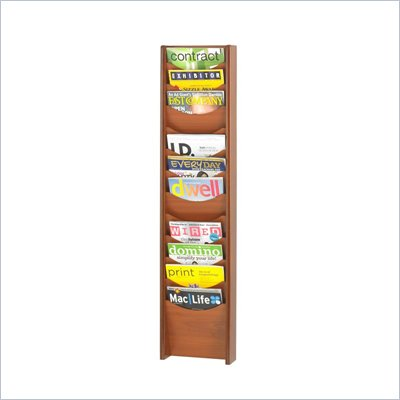 Safco 12-Pocket Wood Magazine Rack in Cherry