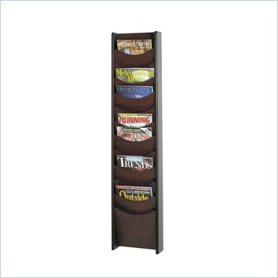 Safco 12-Pocket Wood Magazine Rack in Mahogany