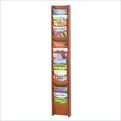 Safco 18-Pocket Wood Magazine Rack in Cherry