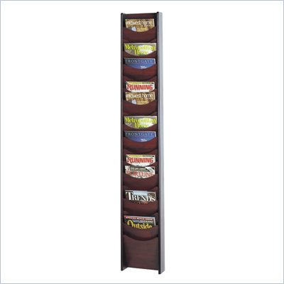 Safco 18-Pocket Wood Magazine Rack in Mahogany