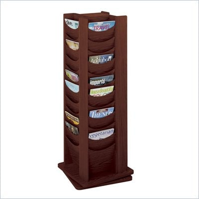 Safco 48-Pocket Solid Wood Rotating Magazine Rack in Mahogany