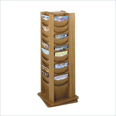Safco 48-Pocket Solid Wood Rotating Magazine Rack in Medium Oak