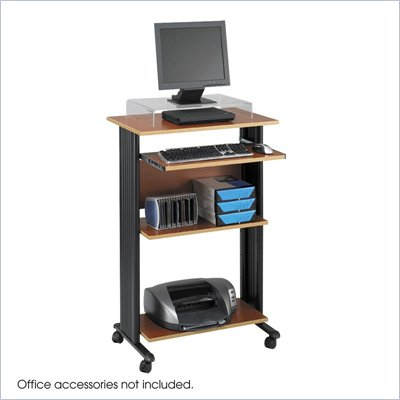Safco MÜV Standing Wood Workstation in Cherry