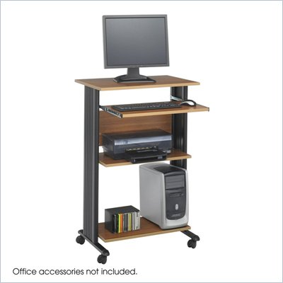 Safco M&#220;V Standing Wood Workstation in Medium Oak