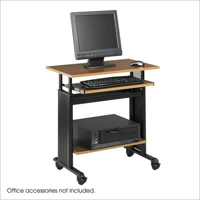 Safco M&#220;V 28&quot; Height Adjustable Wood Workstation in Medium Oak