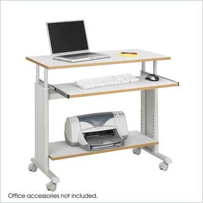 "Safco MÜV 35"" Height Adjustable Wood Workstation in Gray"