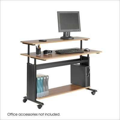 Safco M&#220;V Extra Wide Wood Workstation in Medium Oak