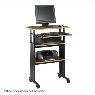 Safco M&#220;V Stand-Up Adjustable Height Workstation in Cherry