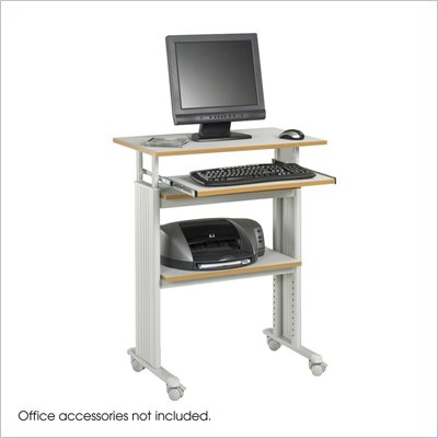 Safco MÜV Standing Height Adjustable Wood / Metal Workstation in Gray