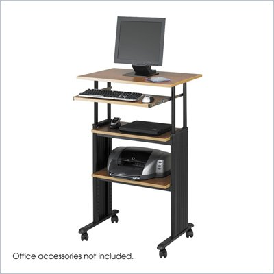 Safco M&#220;V Standing Height Adjustable Wood Workstation in Medium Oak