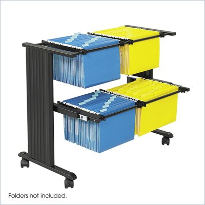 Safco M&#220;V Double Width Mobile Metal Hanging Files Cart in Black