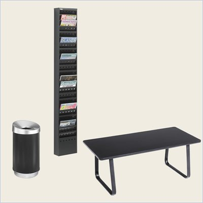 Safco Reception Room Table Set with Magazine Rack and Waste Basket