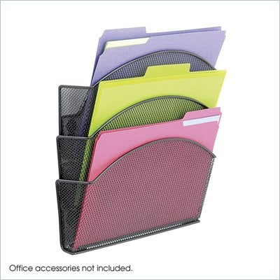 Safco Onyx Magnetic Mesh Triple File Pocket (Set of 6)
