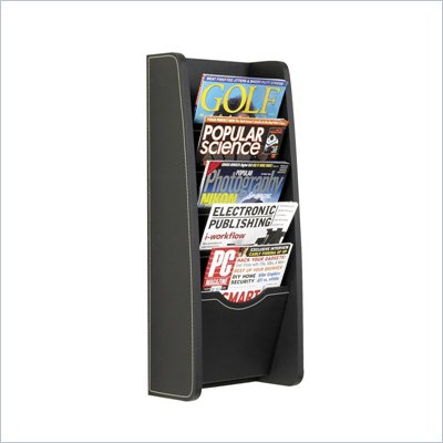 Safco 5-Pocket Black Leather Look Magazine Rack