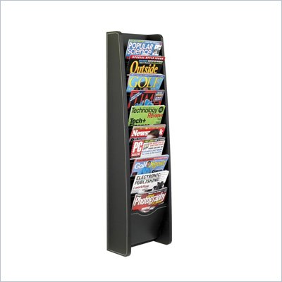 Safco 10-Pocket Black Leather Look Magazine Rack