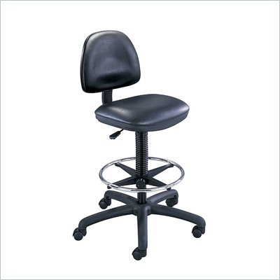 Safco Black Vinyl Precision Drafting Chair with Ring Foot Rest