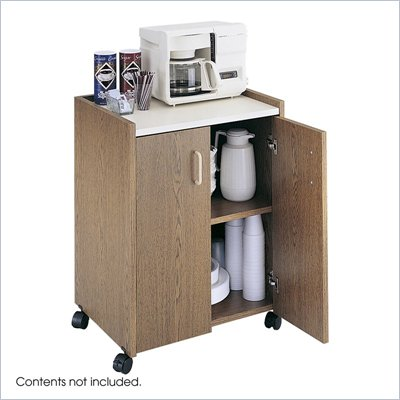 Safco Medium Oak Mobile Refreshment Center