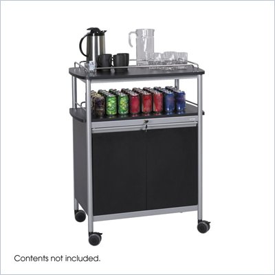 Safco Black Mobile Beverage Cart