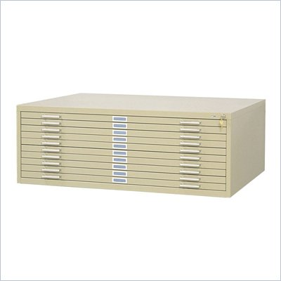 "Safco 10 Drawer Metal Flat Files Cabinet for 30"" x 42"" Documents in Tropic Sand"