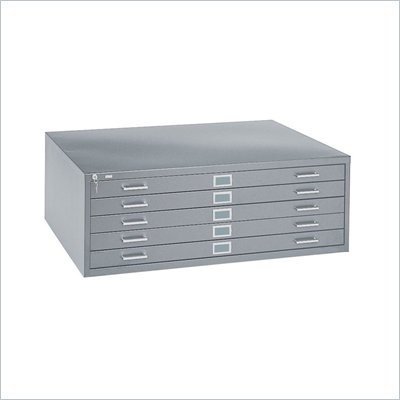 Safco 5 Drawer Metal Flat Files Cabinet for 24&quot; x 36&quot; Documents in Gray