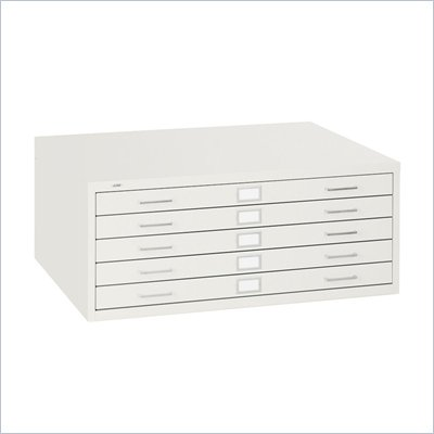 Safco 5 Drawer Metal Flat Files Cabinet for 24&quot; x 36&quot; Documents in White