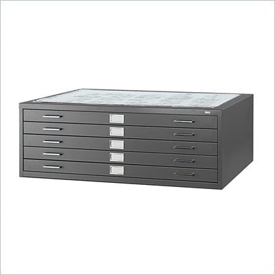 Safco 5 Drawer Flat Files Metal Cabinet for 30&quot; x 42&quot; Files in Black