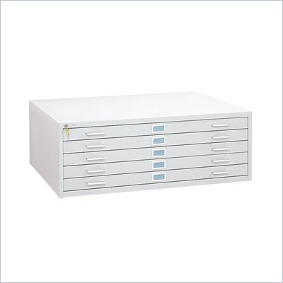 Safco 5 Drawer Flat Files Metal Cabinet for 36&quot; x 48&quot; Documents in White