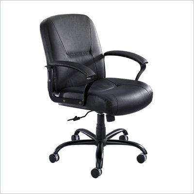 Safco Serenity Mid Back Big and Tall Chair in Black Leather 