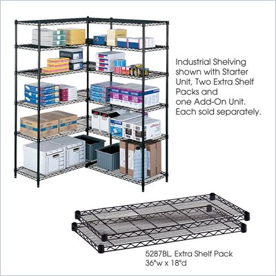 Safco 36&quot;x18&quot; Industrial Extra Shelf Pack in Black