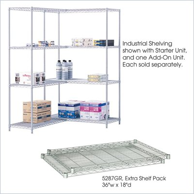 "Safco 36""x18"" Industrial Extra Shelf Pack in Gray"