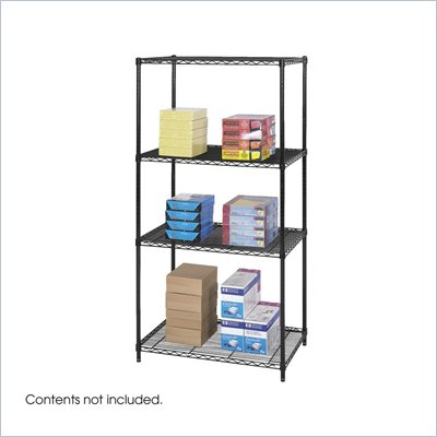 "Safco 36""x24"" Industrial Wire Shelving in Black"