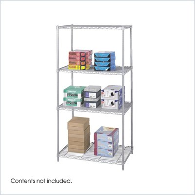 "Safco 36""x24"" Industrial Wire Shelving in Gray"