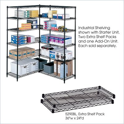 Safco 36&quot;x24&quot; Industrial Extra Shelf Pack in Black