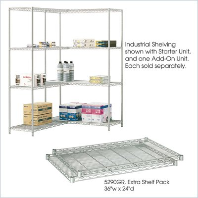 Safco 36&quot;x24&quot; Industrial Extra Shelf Pack in Gray