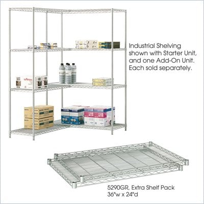 "Safco 36""x24"" Industrial Extra Shelf Pack in Gray"