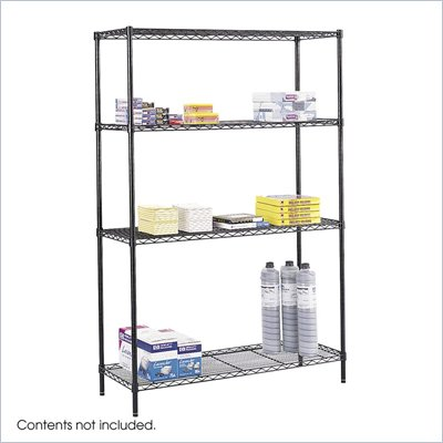 Safco 48&quot;x18&quot; Industrial Wire Shelving in Black
