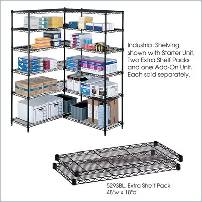 Safco 48&quot;x18&quot; Industrial Extra Shelf Pack in Black