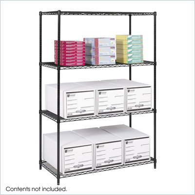 "Safco 48""x24"" Industrial Wire Shelving in Black"