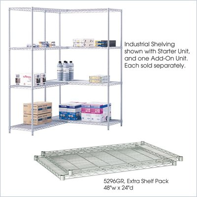 "Safco 48""x24"" Industrial Extra Shelf Pack in Gray"