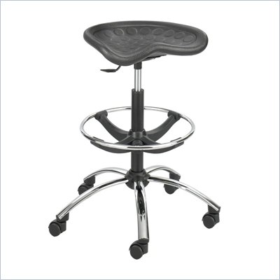 Safco Sit-Star Black Drafting Stool with Chrome Base