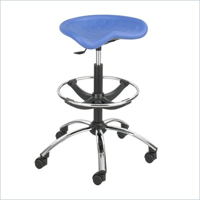 Safco Sit-Star Blue Drafting Stool with Chrome Base