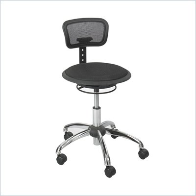 Safco Black Mesh Stool with Backrest in Black