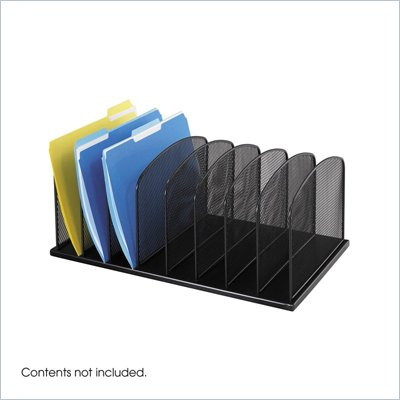 Safco Onyx Black Mesh Desk Organizer with 8 Upright Sections
