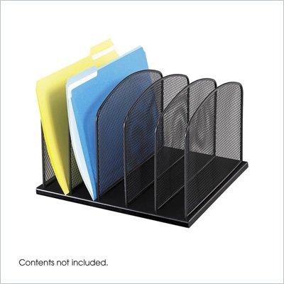 Safco Onyx Black Mesh Desk Organizer with 5 Upright Sections