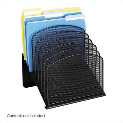Safco Onyx Black Mesh Desk Organizer with 8 Slanted Sections