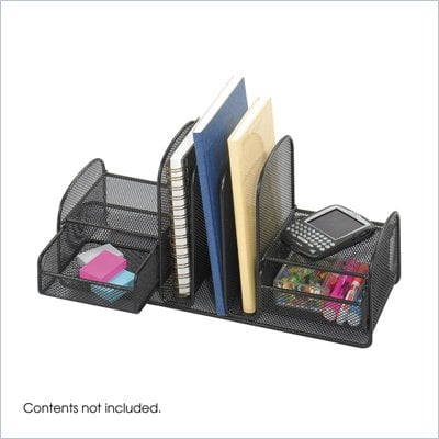 Safco Onyx Black Mesh Multi-Purpose Desk Organizer with 2 Drawers and 3 Upright Sections